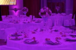 Allestimento sala cena aziendale Villa Miani